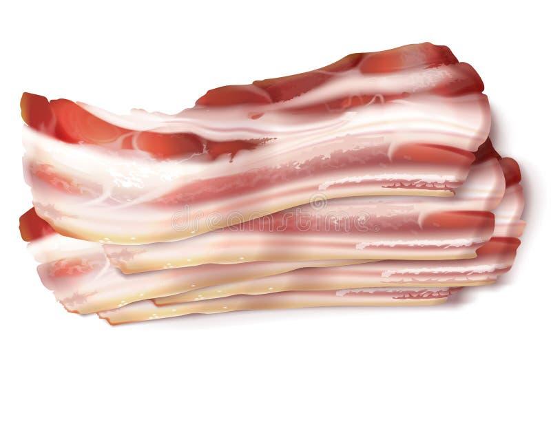 Wektorów ciency bekonowi paski, grubi plasterki wieprzowiny mięso royalty ilustracja