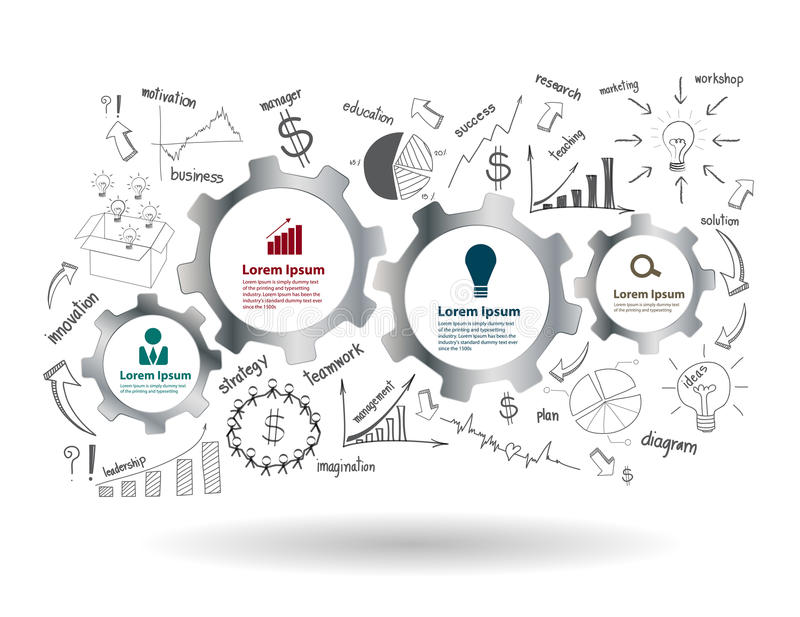 Wektorów cogs z rysować biznesowego sukces i przekładnie ilustracji
