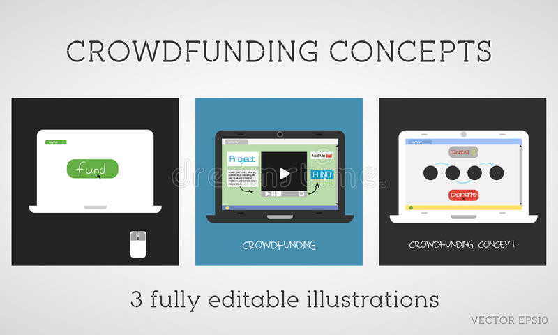 Wektorów crowdfunding pojęcia ustawiający Online fundusz projekt Sieci darowizna Sponsor używa internet Płaski projekt na barwion ilustracji