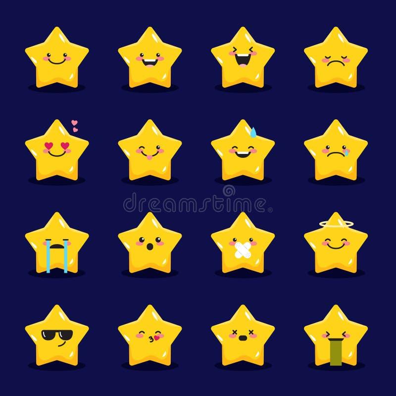 Wektorów gwiazdowi emoticons inkasowi Śliczny emoji set ilustracji