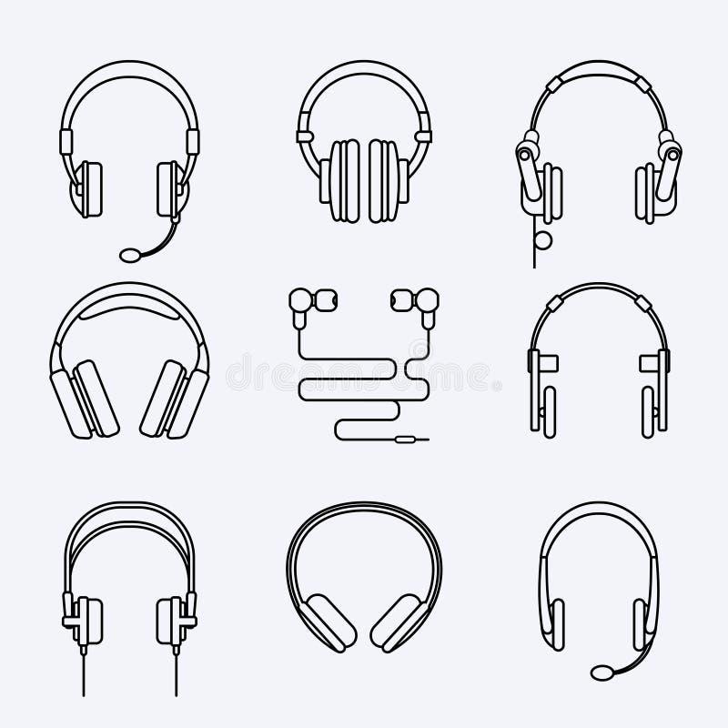 Wektorów hełmofonów ikony kreskowy set ilustracji