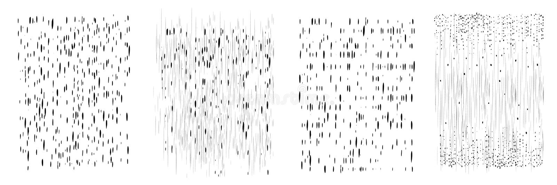 Wektorów kapinosy i kropki czarny atrament Pionowo linie, krople i pluśnięcia, Set cztery różnego wzoru Ręka rysująca tekstura ilustracja wektor