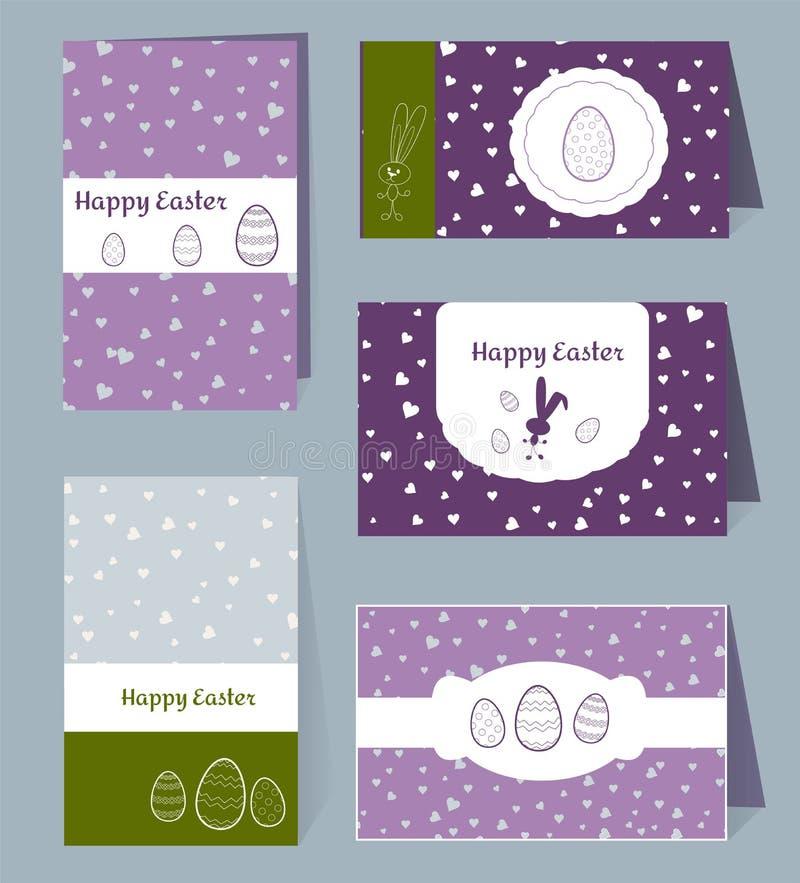 Wektorów karciani Szczęśliwi Wielkanocni szablony z jajkami, królikami, sercami i białą ramy granicą, boksują Ilustracyjny typogr ilustracja wektor