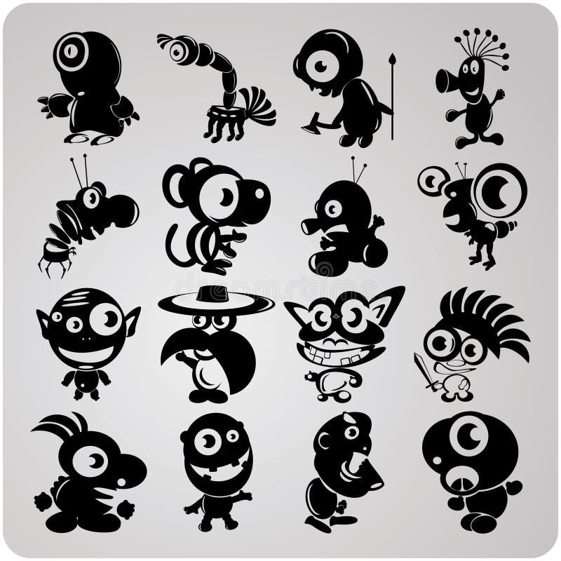 16 wektorów konturowych obcych ilustracji