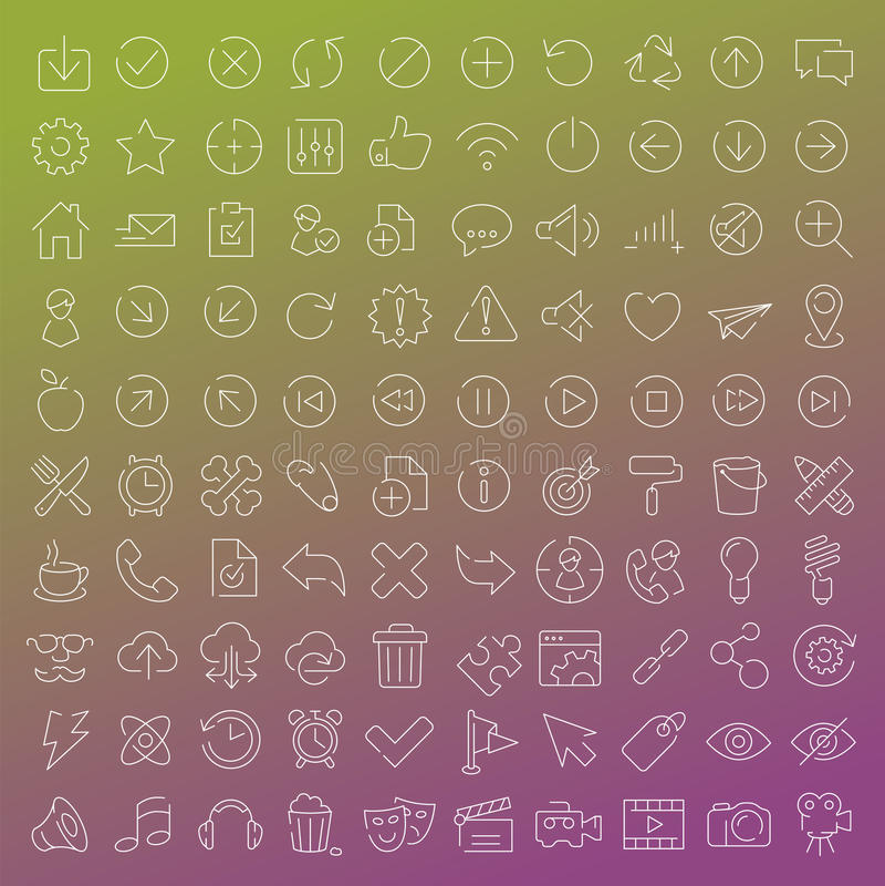 100 wektorów kreskowych ikon ustawiających royalty ilustracja