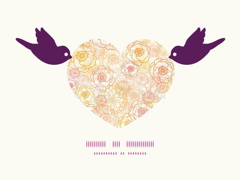 Wektorów kwiatów ciepli ptaki trzyma kierową sylwetkę ilustracja wektor