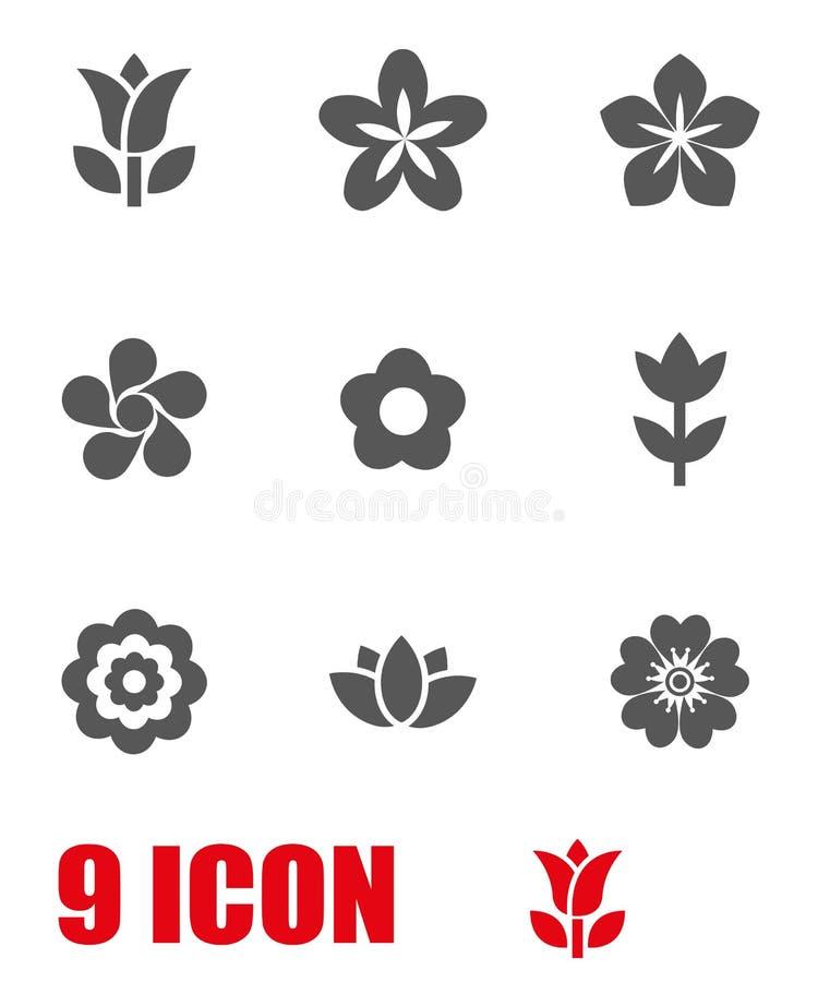 Wektorów kwiatów ikony popielaty set ilustracji