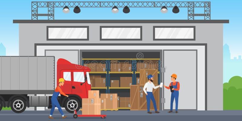 Wektorów Magazynowi pracownicy układają towary na półkach Magazynowa zewnętrzna budynku wirh ładunku ciężarówka ilustracji
