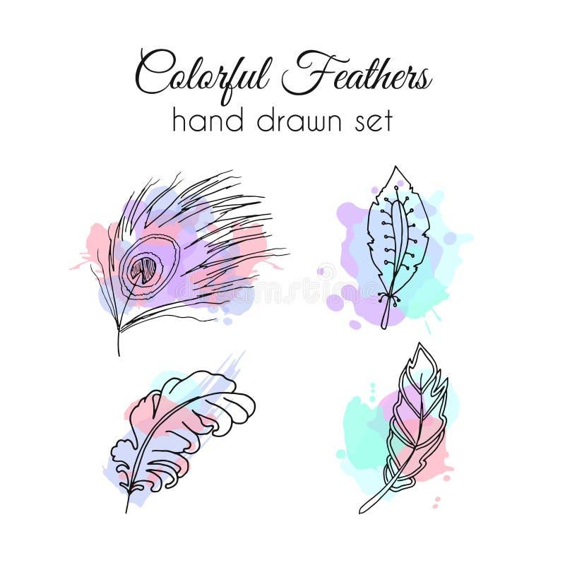 Wektorów piórka ustawiający Ręka rysujący etniczni elementy Szkicowy piórko ilustracji