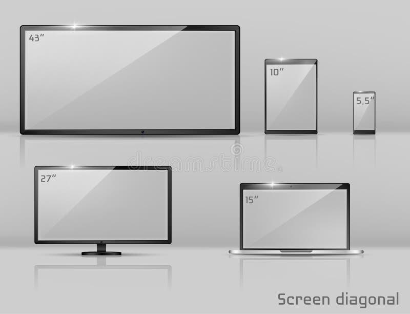 Wektorów różni rozmiary ekrany - notatnik, smartphone, TV royalty ilustracja