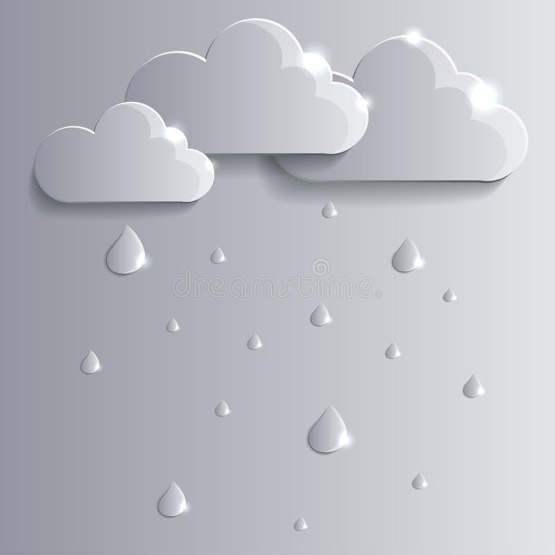 Wektorów raindrops i chmury ilustracji