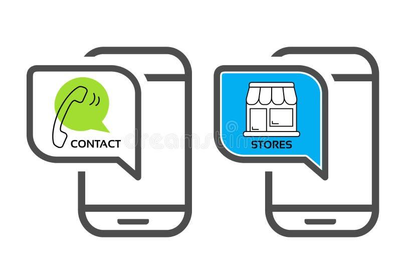 Wektorów sklepowi symbole, app nawigacja - sklep, kontakt zapnij komórkę Czarni kreskowi telefonów komórkowych elementy dla robić royalty ilustracja