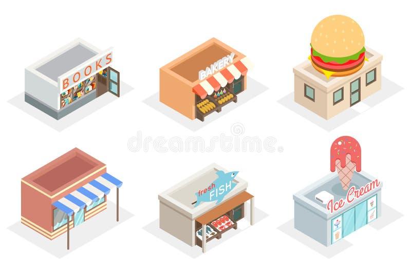 Wektorów sklepy i przechują 3d isometric ikony ilustracji