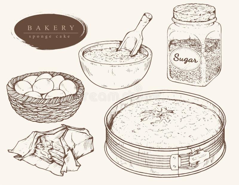 Wektorów ustaleni składniki dla gąbka torta royalty ilustracja
