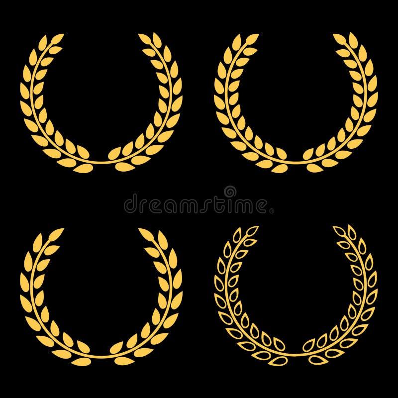 Wektorów ustaleni złoci laurowi wianki ilustracji