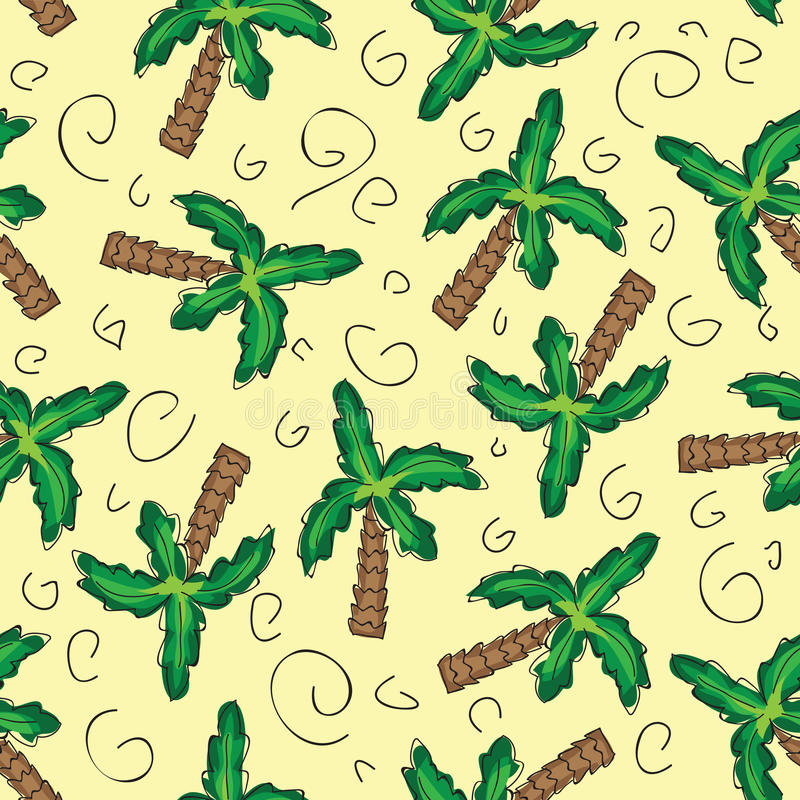Wektorów zielonych drzewek palmowych bezszwowy wzór royalty ilustracja