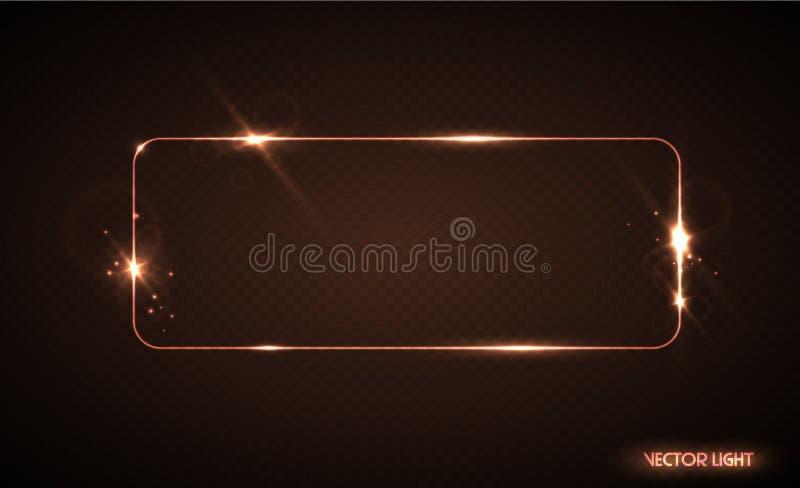 Wektor łuny linii złota rama z iskrami i światło reflektorów lekkimi skutkami Olśniewający prostokąta sztandar Odizolowywająca we ilustracja wektor