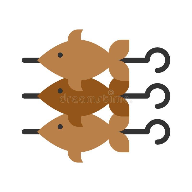 Wektor ślimaków rybnych, ikona płaskiego stylu związana z grilem ilustracja wektor