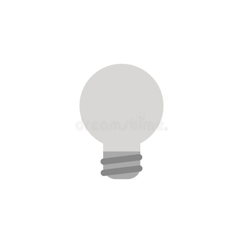 Wektor żarówki popielata ikona na bielu z płaskim projekta stylem ilustracja wektor