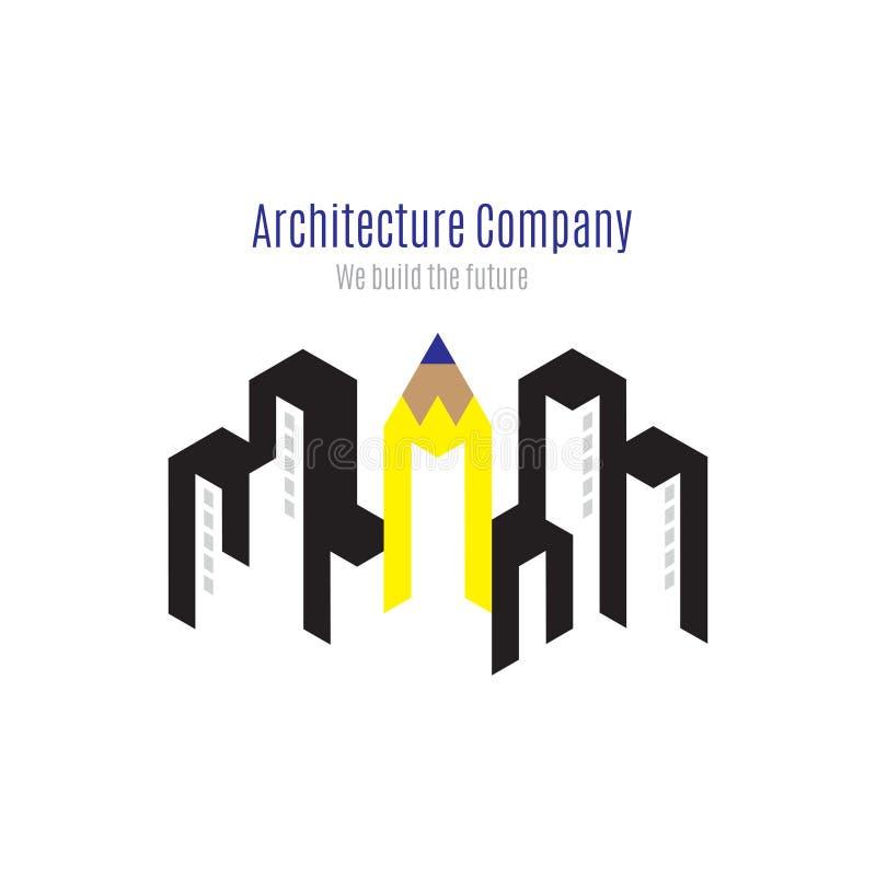 Wektor: Architektury firmy logo z budynkiem i koloru żółtego penc ilustracji