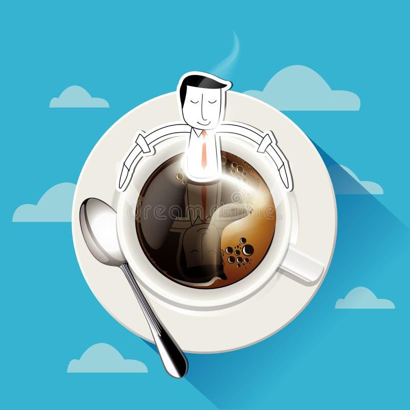 Wektor aromat kawa Biznesmen siedzi w kawowym kubku ilustracji