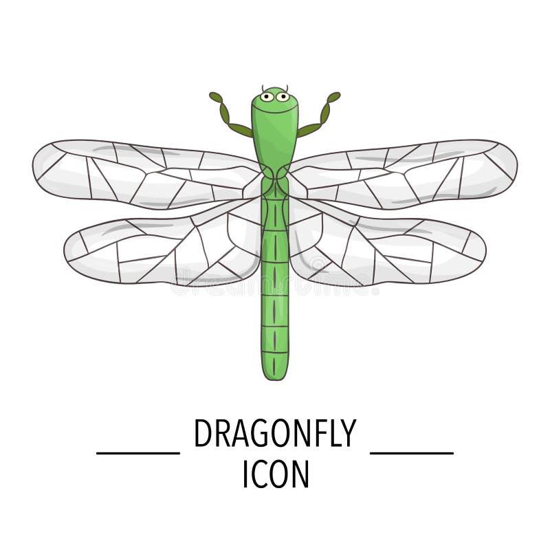 Wektor barwił dragonfly ikonę odizolowywającą na białym tle ilustracji