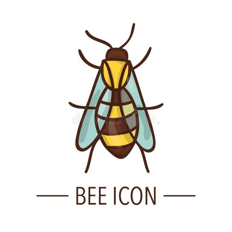 Wektor barwił pszczoły ikonę odizolowywającą na białym tle royalty ilustracja