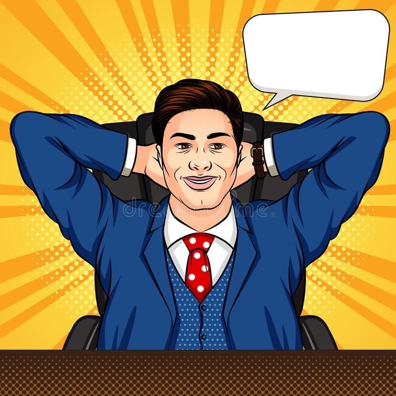 Wektor barwił wystrzał sztuki komiksu stylu ilustrację mężczyzny obsiadanie w biurze Pomyślny biznesmen jest odpoczynkowy przy bi ilustracji
