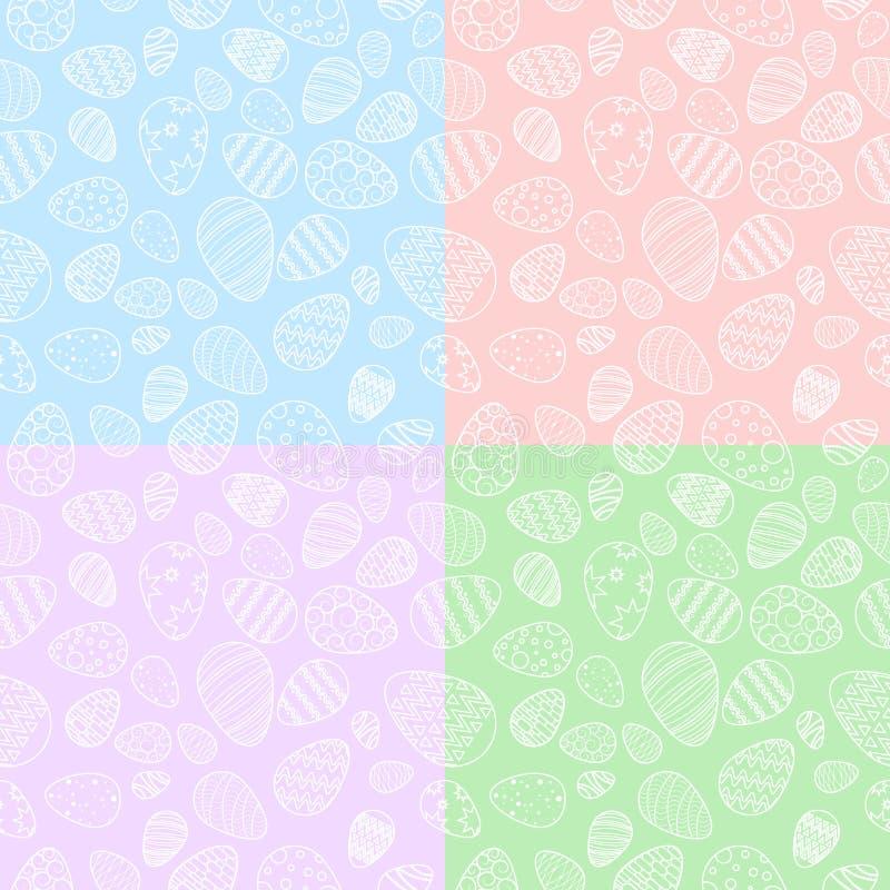 Wektor, bezszwowi wzory jajka menchie, błękit, czerwień, zielony backgr royalty ilustracja
