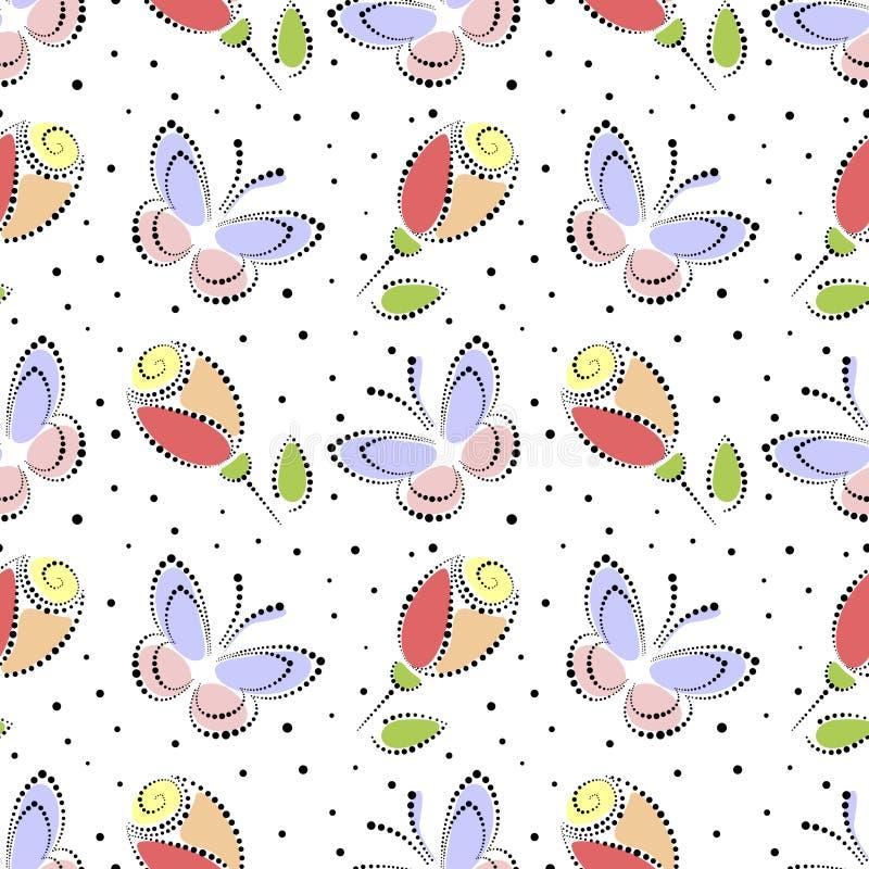 wektor bezszwowy kwiecisty wzoru Kolorowy ornamentacyjny tło z motylami i różami Dekoracyjny wielostrzałowy ornament, ilustracji