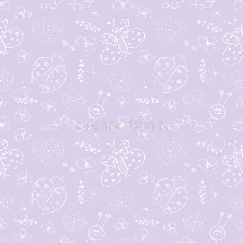 wektor bezszwowy wzoru Śliczny błękitny tło z biedronkami, motylem, gąsienicami i kwiatami ręki rysującymi, ilustracja wektor