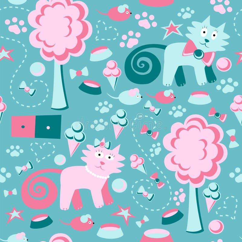 wektor bezszwowy wzoru Śmieszny dziecka ` s tło Barwiący koty, drzewa, mysz i lody, royalty ilustracja