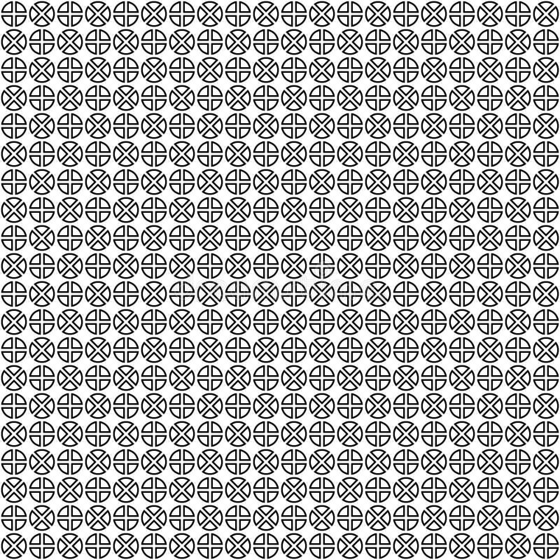 wektor bezszwowy wzoru abstrakcjonistyczna geometryczna tekstura Czarno biały tło Monochrom dzielący okręgu projekt ilustracji