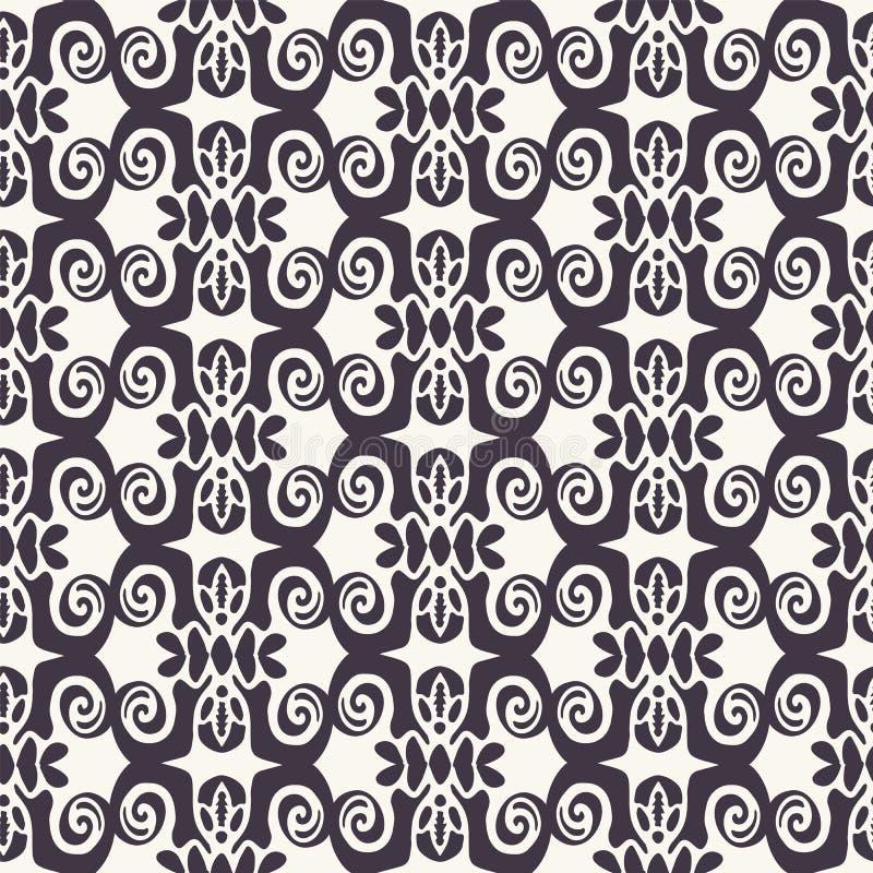 wektor bezszwowy wzoru Abstrakcjonistyczny etniczny plemienny scandi styl Wielostrzałowy dachówkowy tło Monochrom powierzchni pro royalty ilustracja