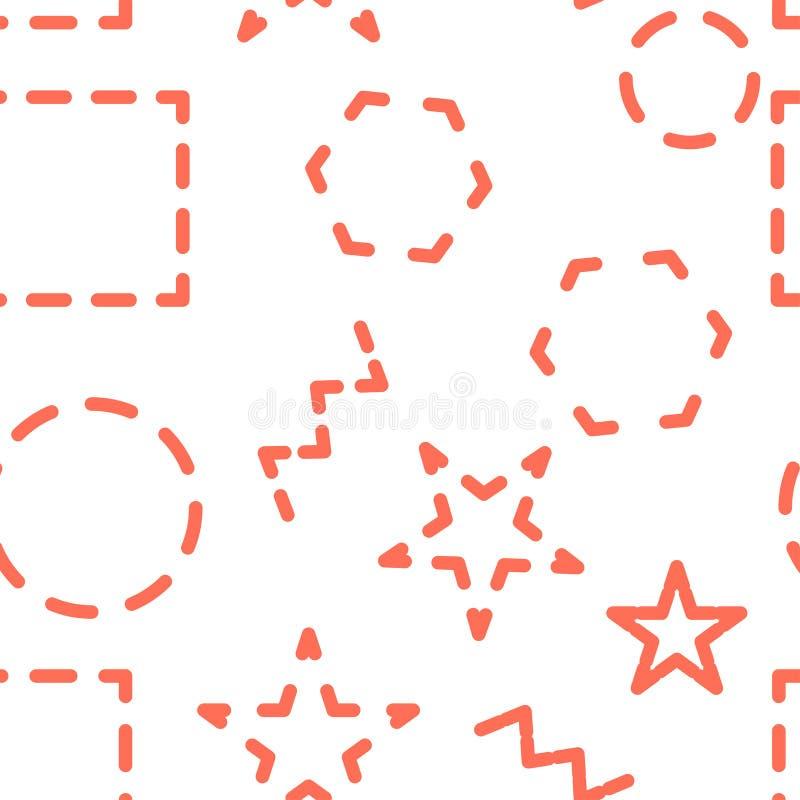 wektor bezszwowy wzoru Abstrakcjonistyczny geometryczny tło z różnymi geometrycznymi kształtami - trójboki, okrążają, kropki, lin ilustracji