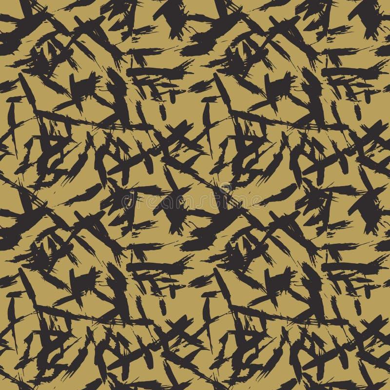 wektor bezszwowy wzoru Abstrakcjonistyczny tło z szczotkarskimi uderzeniami ilustracja wektor
