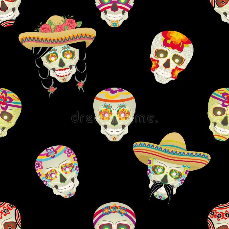 wektor bezszwowy wzoru Cukrowa czaszka Męski Meksykański czarny wąsy z czarni włosy zbierał w pigtails royalty ilustracja