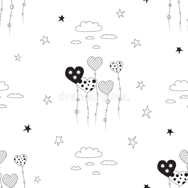wektor bezszwowy wzoru Czarny i biały sylwetka latający serca, chmurnieje i gra główna rolę na białym tle royalty ilustracja