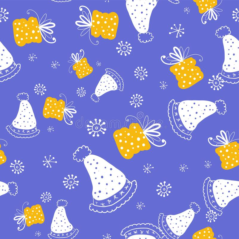 wektor bezszwowy wzoru Doodle stylowego bezszwowego wzór z trykotowymi kapeluszami i prezentów pudełkami na białych płatek śniegu royalty ilustracja