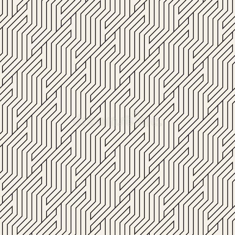 wektor bezszwowy wzoru Geometryczny pasiasty zygzakowaty ornament Prosty nachylający linii tło ilustracja wektor