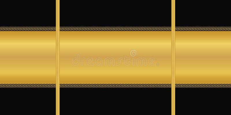 wektor bezszwowy wzoru Horyzontalny złoty lampas, art deco ornament na czarnym tle Tapeta, opakunkowy papier, tekstylny druk royalty ilustracja