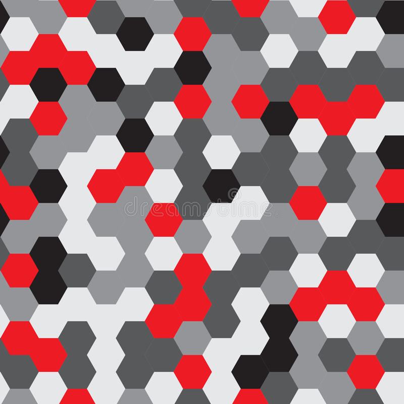 wektor bezszwowy wzoru nowożytna elegancka tekstura Wielostrzałowego sześciokąta Geometryczny tło Czarni, Popielaci i Czerwoni ko zdjęcie stock