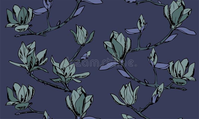 wektor bezszwowy wzoru Ornament gałązki magnoliowi kwiaty royalty ilustracja