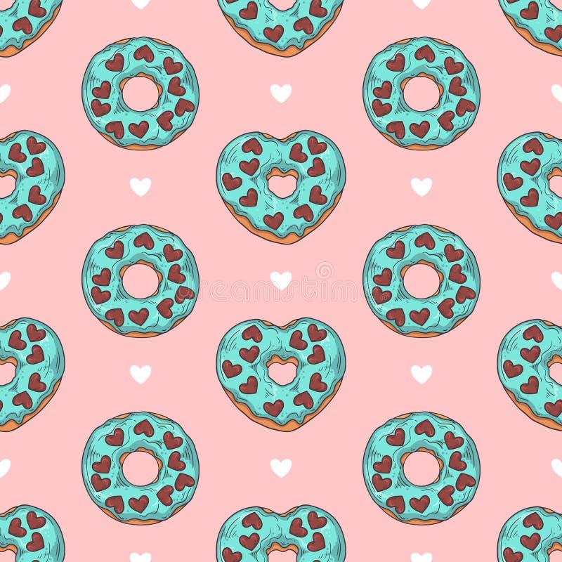 wektor bezszwowy wzoru Oszkleni donuts dekorowali z polewami, czekolada, dokrętki zdjęcia stock