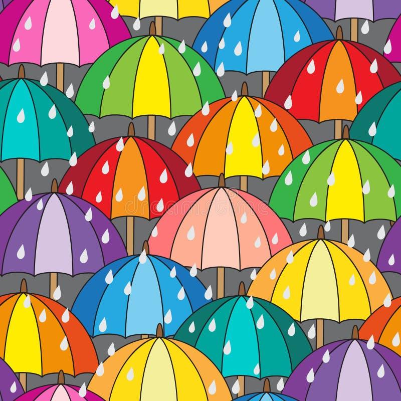 wektor bezszwowy wzoru parasole kolor royalty ilustracja