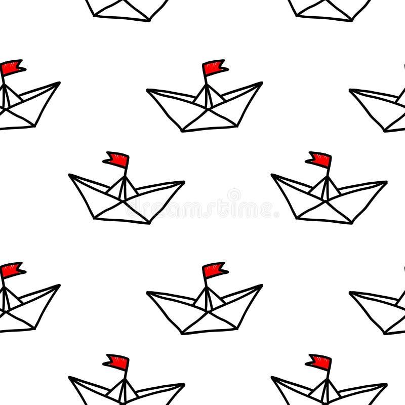 wektor bezszwowy wzoru Ręka rysujący papierów statki z czerwonymi flagami na białym tle royalty ilustracja