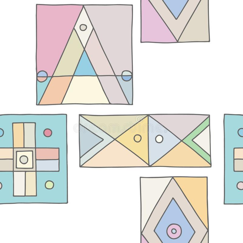 wektor bezszwowy wzoru Rocznika geometrical ręka rysujący tło z etnic elementami Retro druk dla tła, tapeta, ilustracji