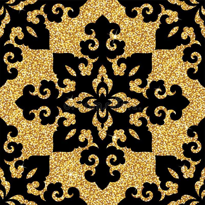 wektor bezszwowy wzoru Tradycyjny azjatykci ornamentacyjny motyw Bezszwowy tło od kwiecistego orientalnego złotego ornamentu royalty ilustracja