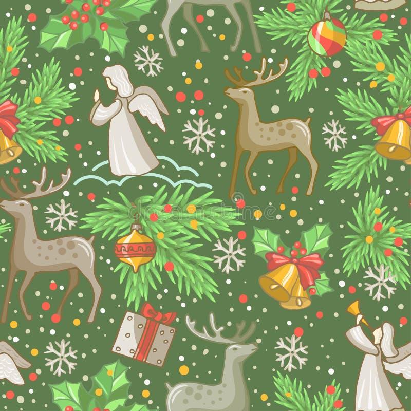 wektor bezszwowy zatwierdzenia projektu Wesoło kartki bożonarodzeniowa dekoracja Szczęśliwi nowego roku projekta elementy Rocznik royalty ilustracja