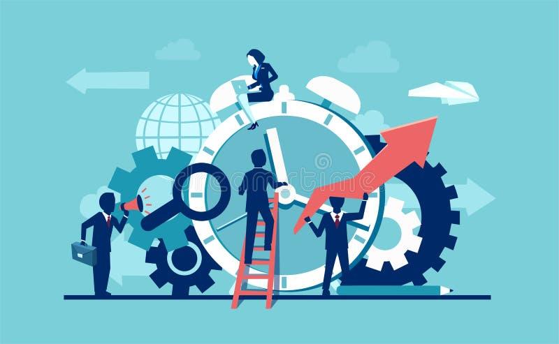 Wektor biznesmen firmy drużyna pracuje wokoło budzika dzwoni na błękitnym tle ilustracja wektor